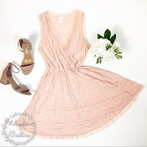 Anthro E by Eloise Pink Lace Chemise Dress